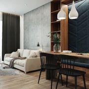 Căn hộ 64 m2 với nội thất xanh xám hot trend